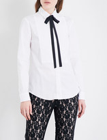 RED Valentino Neck-tie cotton-blend shirt