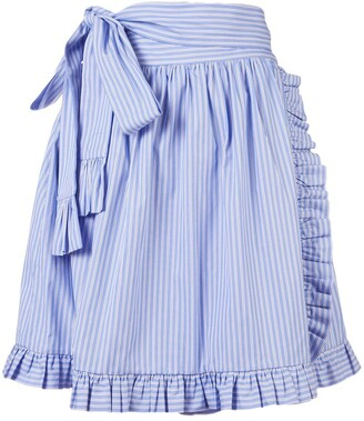 Stella McCartney Striped Ruffle-Trimmed Skirt