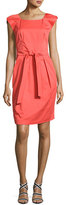 Armani Collezioni Cap-Sleeve Belted Dress, Pink