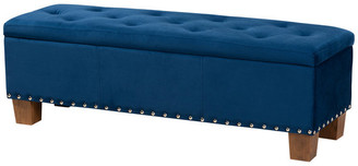 Baxton Studio Broadings Navy Blue Velvet Fabric Button-Tufted Storage Ottoman Bench