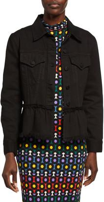 Alice + Olivia Jeans Button-Front Flounce-Hem Denim Jacket