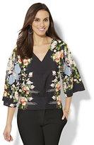 New York & Co. Smocked Kimono Blouse - Floral - Petite