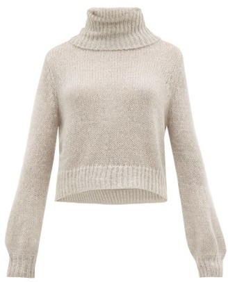 Apiece Apart Ishia Cropped Roll-neck Sweater - Grey