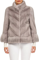 Gorski Chevron Mink Fur 3/4-Sleeve Jacket