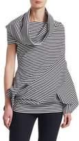 Junya Watanabe Asymmetric Stripe Jersey Cowl Top