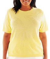 Alfred Dunner Walking On Sunshine Butterfly Solid Sweater - Plus