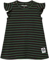 Mini Rodini Black and Green Stripe Wing Sleeve Dress