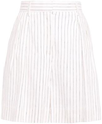 Rebecca Vallance Pleated Pinstriped Linen-blend Shorts
