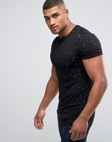 Asos Longline Muscle T-shirt With All Over Gold Speckle Print