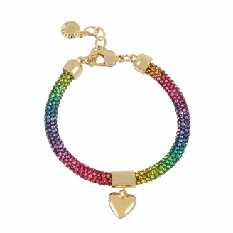 BCBGeneration Heart Charm Rainbow Stone Mesh Bracelet