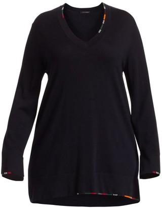 Marina Rinaldi, Plus Size Ali Color-Trimmed Fine Wool Sweater