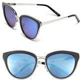 Quay Women's 'Every Little Thing' 54Mm Cat Eye Sunglasses - Black/ Lilac Mirror