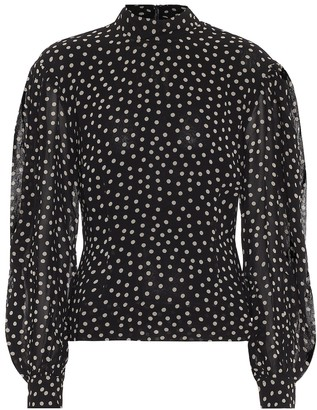 Ganni Polka-dot crApe blouse