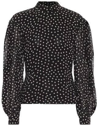 Ganni Polka-dot crepe blouse