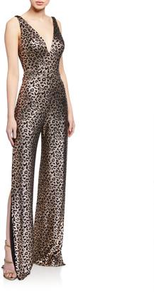 Jovani Animal Foil Print V-Neck Sleeveless Jumpsuit