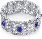 JCPenney 1928 Jewelry Blue Stone Silver-Tone Filigree Stretch Bracelet