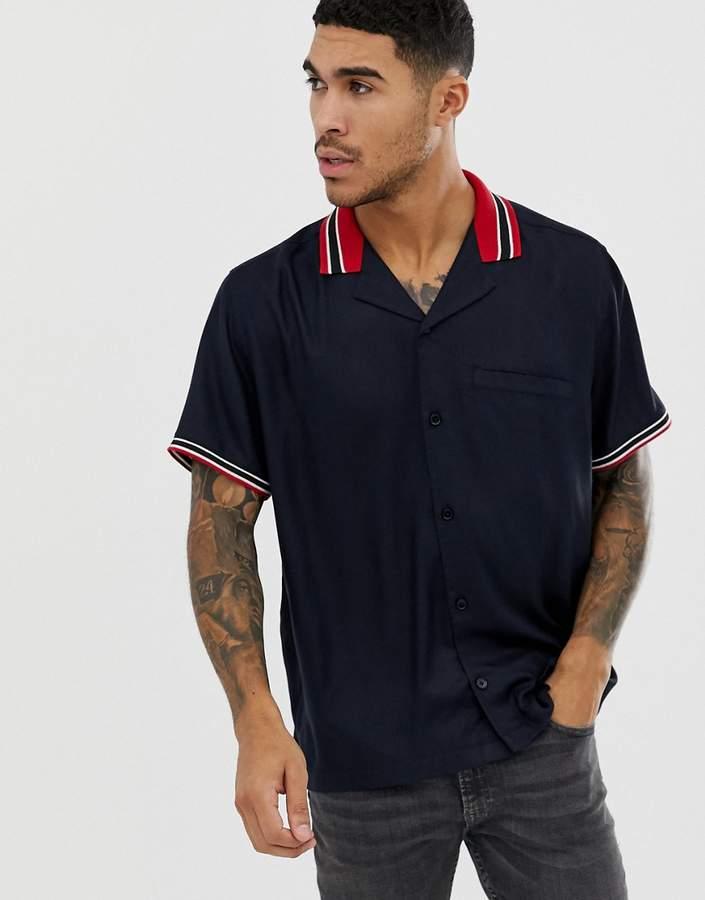Asos Design DESIGN oversized revere shirt with rib insert in navy