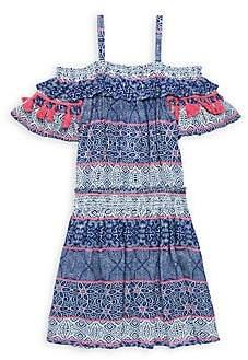 Ella Moss Girl's Tile-Print Gauze Cold-Shoulder Dress