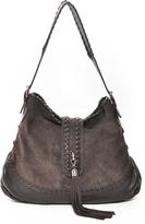Carla Mancini Brown Whipstitch Tassel Leather Hobo