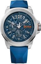 BOSS ORANGE Men's New York Blue Silicone Strap Watch 50mm 1513348