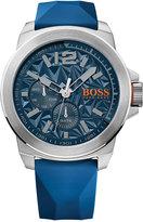 BOSS ORANGE Men's New York Blue Silicone Strap Watch 50mm 1513348