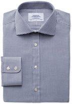 Charles Tyrwhitt Extra Slim Fit Semi-Spread Collar Melange Puppytooth Indigo Cotton Dress Casual Shirt Single Cuff Size 15.5/36