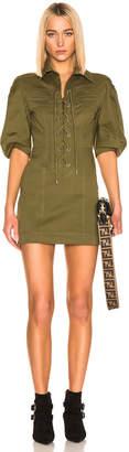 Alberta Ferretti Lace Up Mini Dress in Olive | FWRD