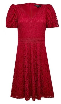 Dorothy Perkins Womens Red Lace Bubble Sleeve Dress