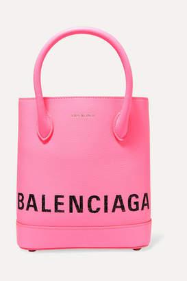 Balenciaga Ville Xxs Aj Printed Textured-leather Tote - Pink