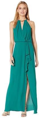 BCBGMAXAZRIA Halter Gown with Metallic Braided Detail (Shaded Spruce) Women's Dress