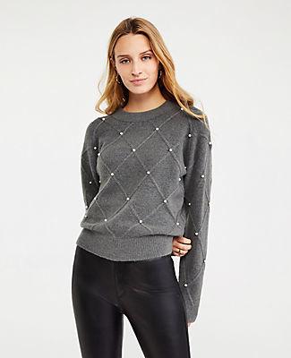 Ann Taylor Petite Pearlized Argyle Sweater