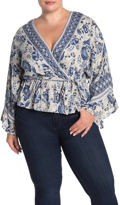 Angie Floral Bell Sleeve Faux Wrap Top (Plus Size)