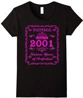 Men's Vintage 2001 Sweet Sixteen Years 16th Birthday Hot Pink 3XL