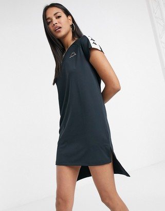 Kappa dip hem dress in black