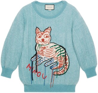 Gucci Mohair sweater with cat intarsia