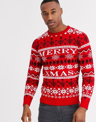 Threadbare christmas pattern jumper in red