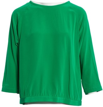 Tibi Green Silk Top for Women