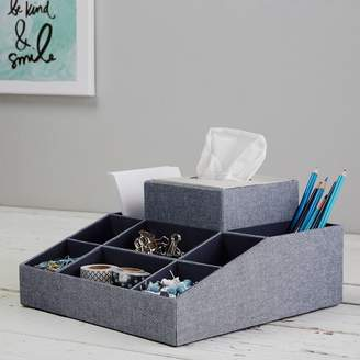 Pottery Barn Teen Eight Compartment Fabric Organizer W/ Tissue, Chambray