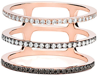 Ef Collection 14K Rose Gold 0.38 Ct. Tw. Diamond Fade To Black Triple Spiral Ring