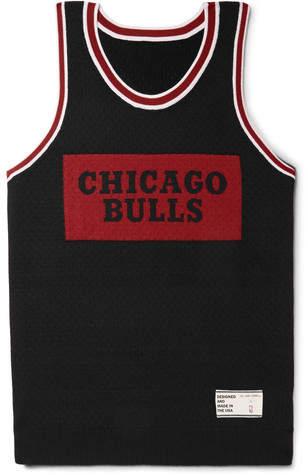 The Elder Statesman + Nba Chicago Bulls Intarsia Cashmere And Silk-Blend Tank Top