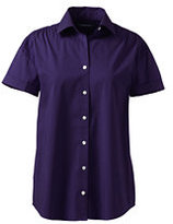 Classic Women's Regular Short Sleeve Shirred Stretch Shirt-Light Hyacinth