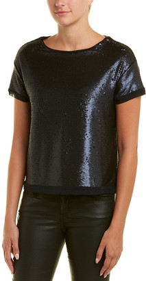 Three Dots Sequin Boxy Crop Top