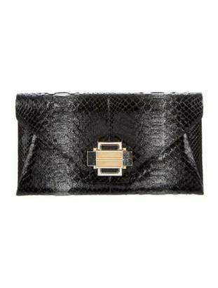 Kara Ross Python Envelope Clutch Black