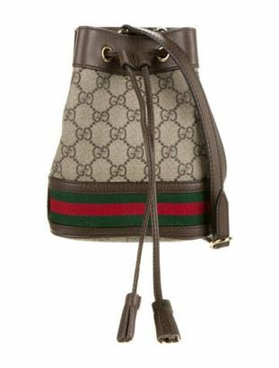 Gucci 2019 GG Supreme Mini Ophidia Bucket Bag w/ Tags Gold