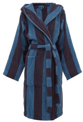 Tekla Hooded Cotton-terry Bathrobe - Blue Stripe