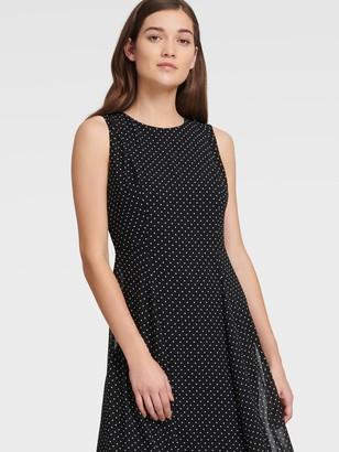 DKNY Women's Sleeveless Chiffon Polka Dot Dress - Black Combo - Size 0