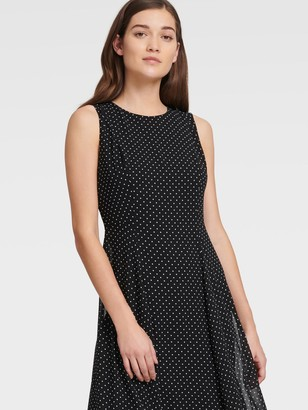 DKNY Women's Sleeveless Chiffon Polka Dot Dress - Black Combo - Size 00