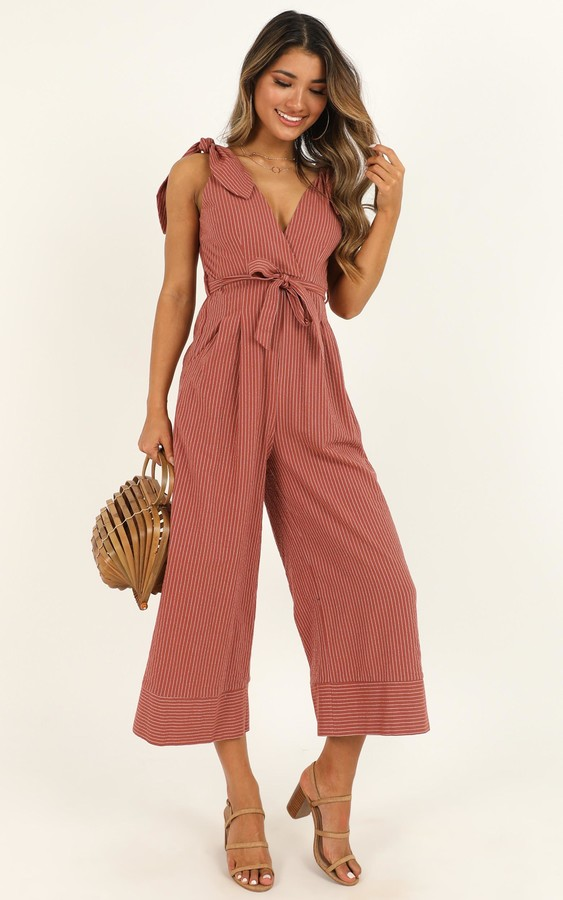 Showpo Endless Circling Jumpsuit in dusty rose - 4 (XXS) Playsuits &