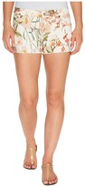 7 For All Mankind Cut Off Shorts w/ Side Splits Light Destroy in Tropical Print 2 Women's Shorts