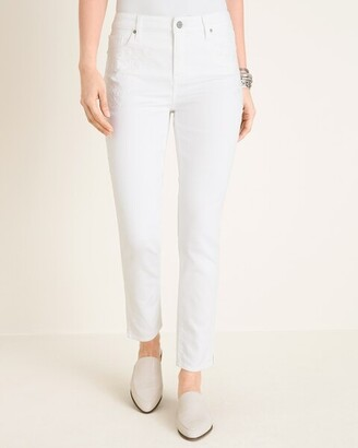 So Slimming No-Stain White Embroidered Girlfriend Ankle Jeans